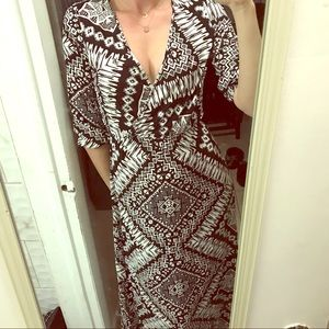 Express Tribal Print Maxi Dress Black & White XS